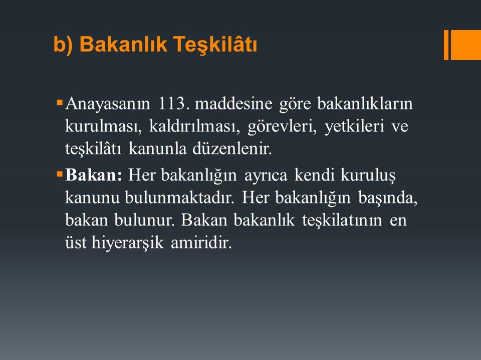  Bakan yardımcısı: Bakan yardımcıları bu görevlerin yerine getirilmesinden Bakana karşı sorumludur.