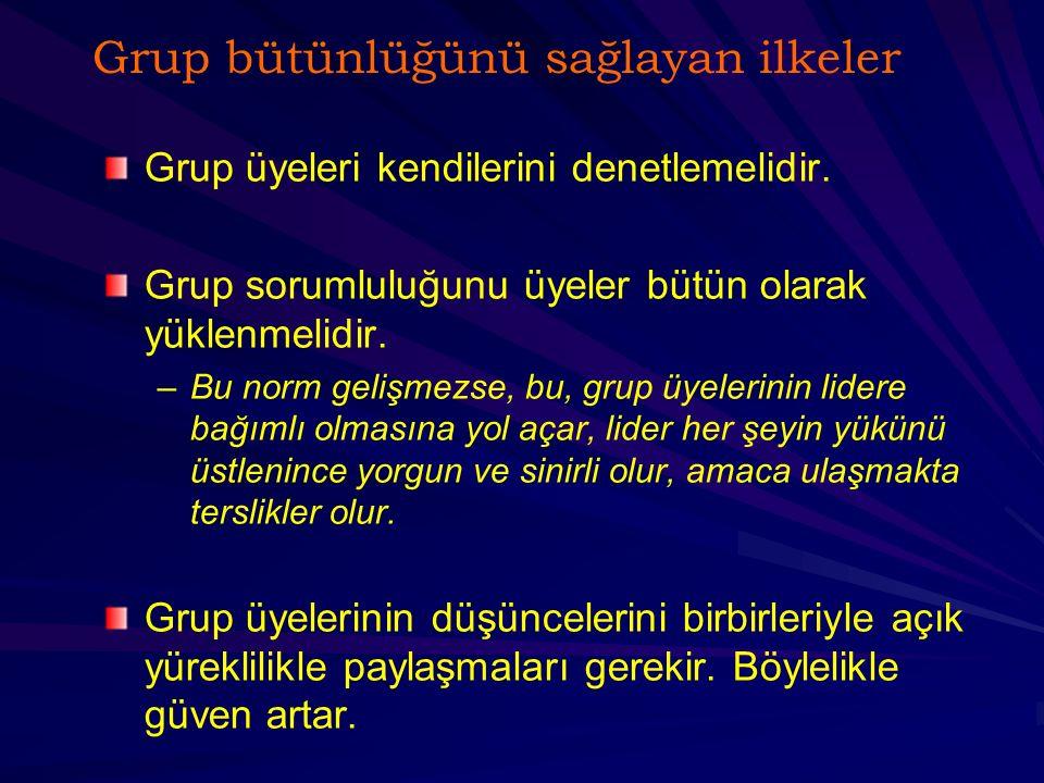 Grup bütünlüğünü sağlamak için ilkeler Üyeler grubu ne denli önemserse grup o denli etkili olur.