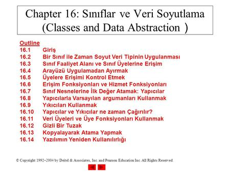 © Copyright 1992–2004 by Deitel & Associates, Inc. and Pearson Education Inc. All Rights Reserved. Chapter 16: Sınıflar ve Veri Soyutlama (Classes and.