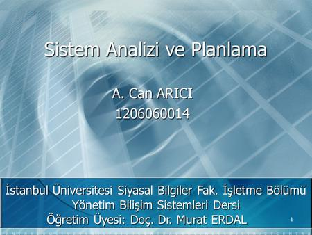 Sistem Analizi ve Planlama