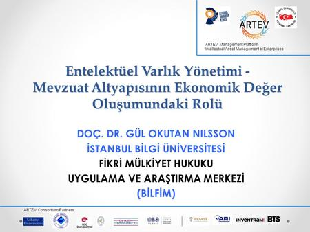 ARTEV Management Platform 'Intellectual Asset Management at Enterprises ARTEV Consortium Partners Entelektüel Varlık Yönetimi - Mevzuat Altyapısının Ekonomik.