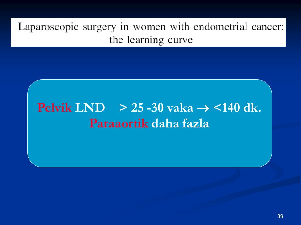 40 Laparoscopic-Assisted Vaginal versus Abdominal Surgery in Patients with Endometrial Cancer—A Prospective Randomized Trial, Sabine Malur, M.D., Marc Possover, M.D., Wolfgang Michels, and Achim Schneider, M.D., Gynecologic Oncology 80, 239–244 (2001)