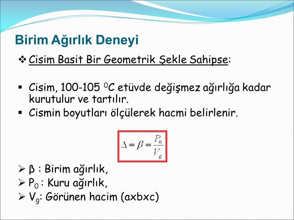 Birim Ağırlık Deneyi  Cisim Düzgün Şekilli Değilse:  Cisim, 100-105 0 C etüvde değişmez ağırlığa kadar kurutulur ve tartılır (P 0 ).