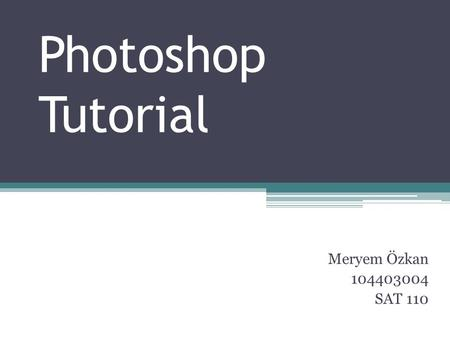 Photoshop Tutorial Meryem Özkan 104403004 SAT 110.