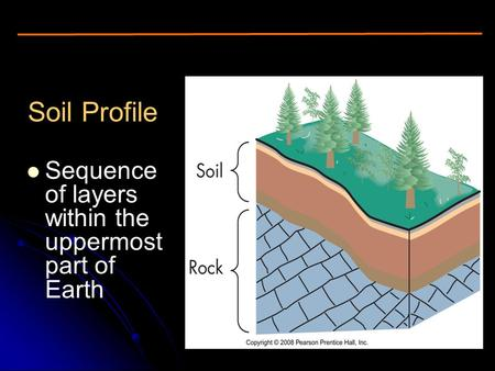 Soil Profile Sequence of layers within the uppermost part of Earth Figure 16.2.