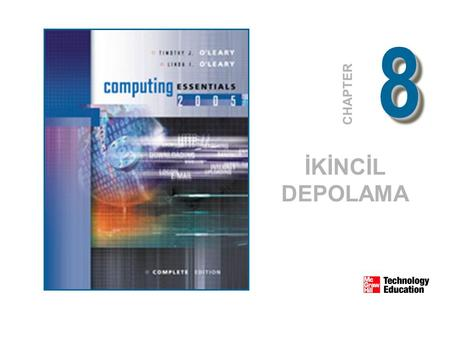88 CHAPTER İKİNCİL DEPOLAMA. © 2005 The McGraw-Hill Companies, Inc. All Rights Reserved. 8-2 Depolama(Hafıza) Birincil depolama(hafıza) Yokolour Geçicidir.