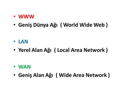 WWW Geniş Dünya Ağı ( World Wide Web ) LAN Yerel Alan Ağı ( Local Area Network ) WAN Geniş Alan Ağı ( Wide Area Network )