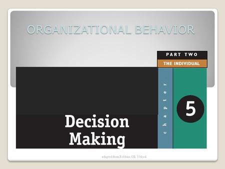Adapted from Robbins, OB, 10th ed. ORGANIZATIONAL BEHAVIOR.