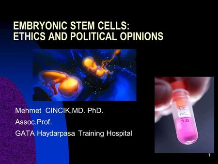EMBRYONIC STEM CELLS: ETHICS AND POLITICAL OPINIONS