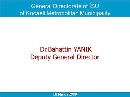 General Directorate of İSU of Kocaeli Metropolitan Municipality