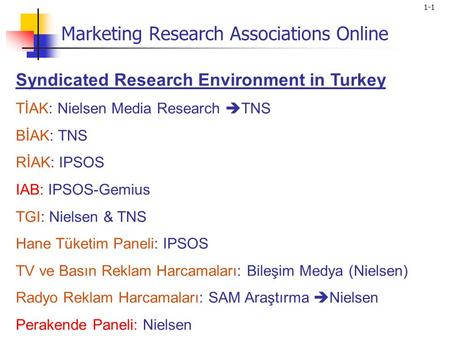 1-1 Syndicated Research Environment in Turkey TİAK: Nielsen Media Research  TNS BİAK: TNS RİAK: IPSOS IAB: IPSOS-Gemius TGI: Nielsen & TNS Hane Tüketim.