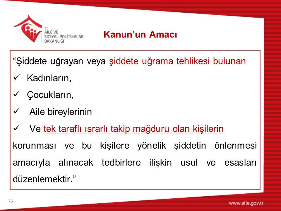 73  Bu Kanunun uygulanmasında ve gereken hizmetlerin sunulmasında; Türkiye Cumhuriyeti Anayasası Türkiye'nin taraf olduğu uluslararası sözleşmeler, Özellikle Kadınlara Yönelik Şiddet ve Aile İçi Şiddetin Önlenmesi ve Bunlarla Mücadeleye İlişkin Avrupa Konseyi Sözleşmesi ve yürürlükteki diğer kanuni düzenlemeler esas alınır.