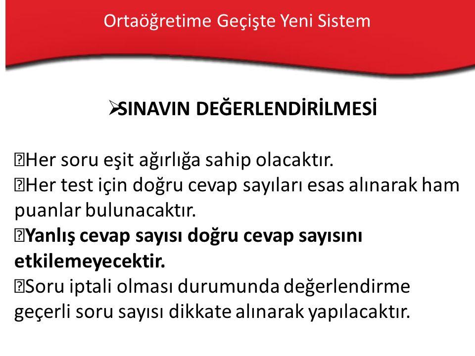 Sınav Yapılacak Dersler  Türkçe  Matematik  Fen Bilgisi  T.C.
