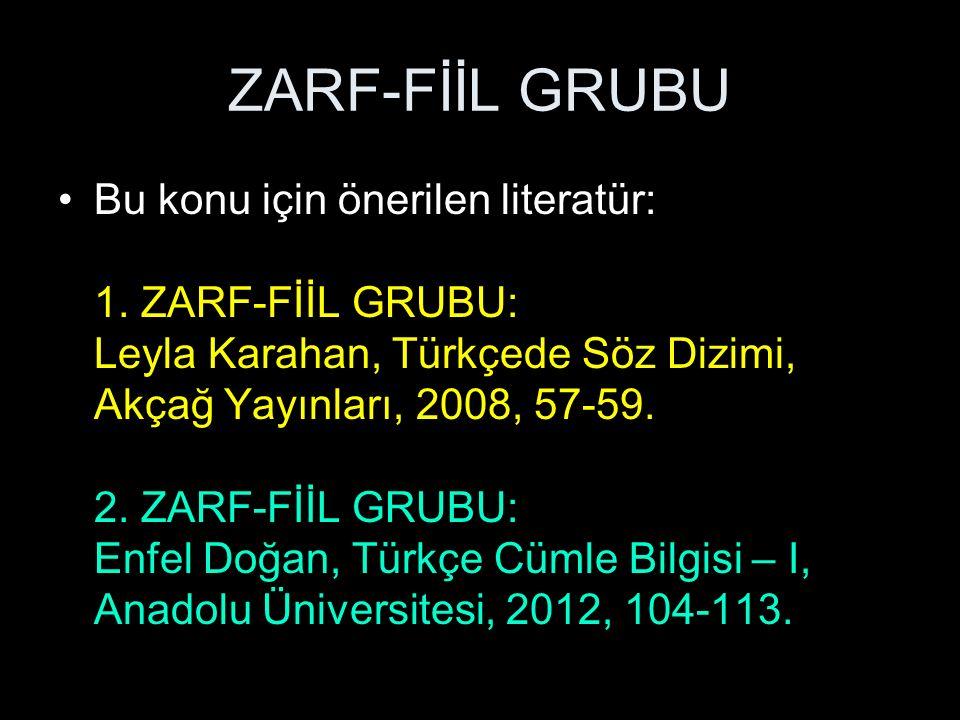 ZARF-FİİL GRUBU zarf-fiil grubu = gerundium grubu Tanımı: Bir zarf-fiil ve buna bağlı bir veya birden fazla tamlayıcısı unsurundan oluşan kelime grubuna, zarf-fiil grubu denir: Bu akşam küçücük kitapçığı okurken, dışarıda patlama sesi işittim.