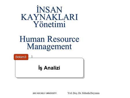 İNSAN KAYNAKLARI Yönetimi Human Resource Management