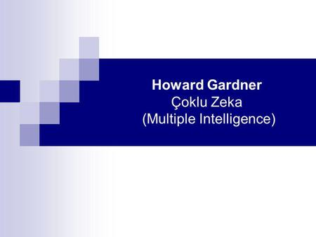 Howard Gardner Çoklu Zeka (Multiple Intelligence).