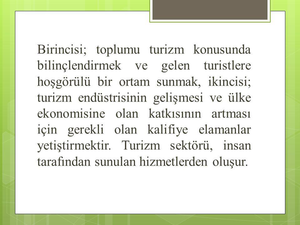 Türkiye'de yükseköğretim düzeyinde turizm eğitimi üniversitelere bağlı önlisans, lisans ve lisansüstü eğitim veren birimler tarafından sağlanır.