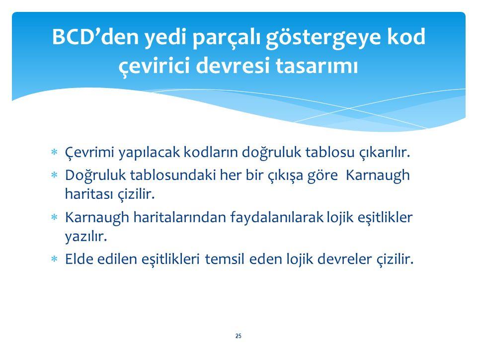 BCD'den yedi parçalı göstergeye kod çevirici devresi tasarımı 26