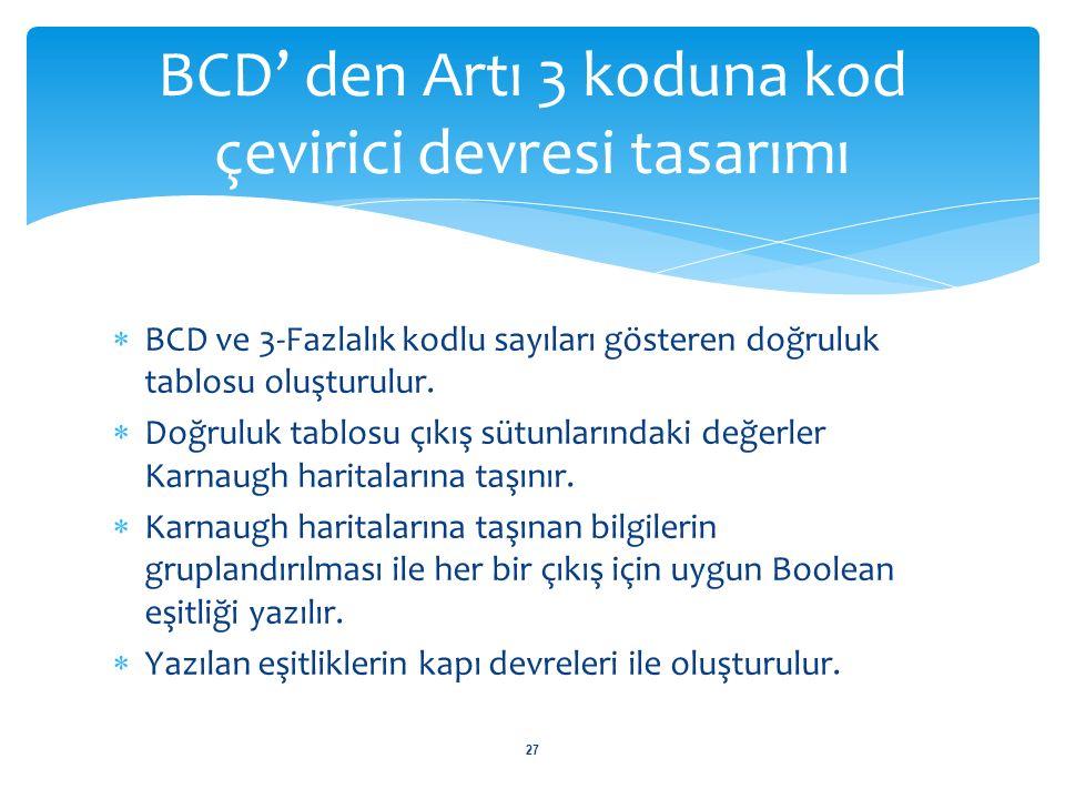 BCD' den Artı 3 koduna kod çevirici devresi tasarımı 28