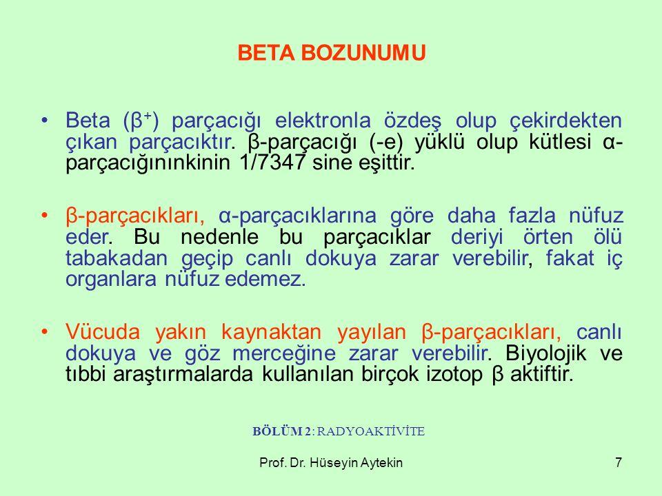 Prof.Dr. Hüseyin Aytekin8 Çekirdeğin gamma bozunumu, alfa ve beta yayınımı ile birlikte olur.