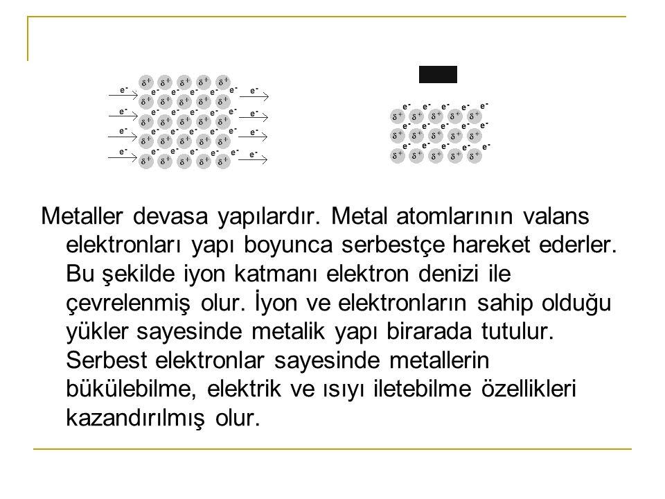 Moleküllerarası Bağlar BağEnerjiÖrnek Kovalent1000Elmas İyonik30-100Tuz ve Seramik Metalik30-150Metaller Hidrojen8Buz Van der Waals2Politen Dipol-Dipol Kuvveti İki polar molekül birbirine yaklaştığı zaman zıt yüklü kutupları arasında bir çekme kuvveti oluşur ve bu kuvvete dipol-dipol kuvveti denir.