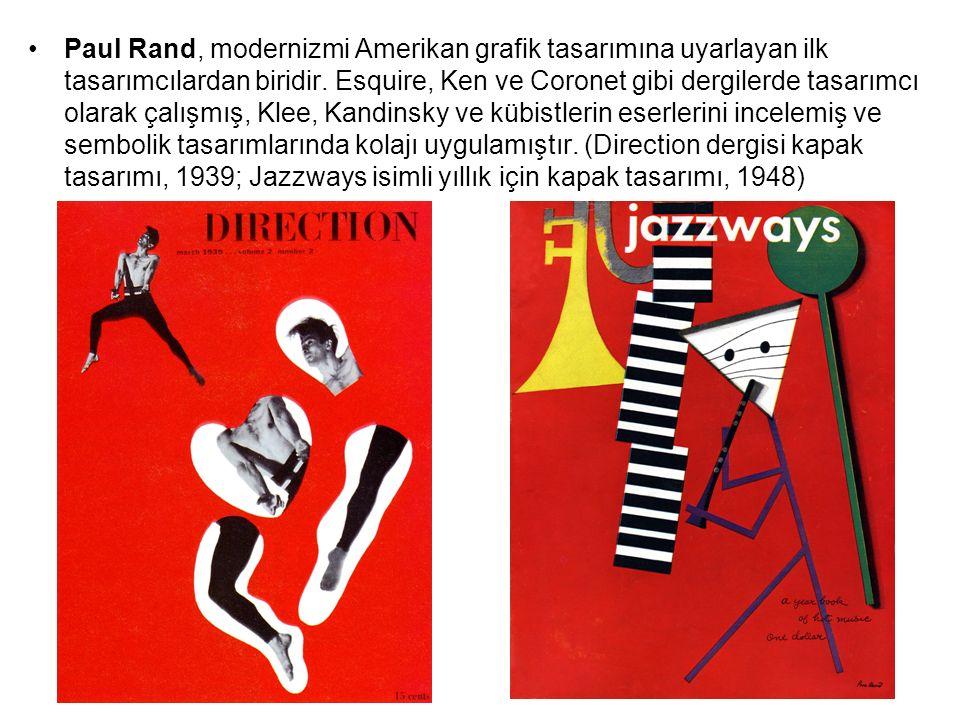 Paul Rand, Tasarım Üzerine Düşünceler adlı kendi kitabının kapak tasarımı, 1947; Olivetti daktilo reklam afişi