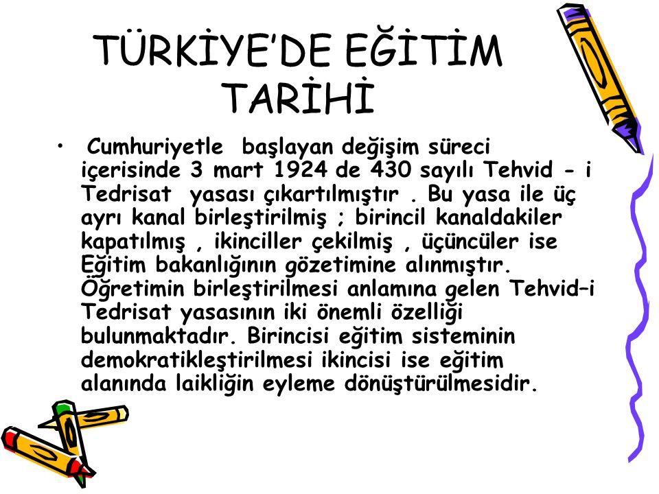 TÜRKİYE'DE EĞİTİMİN TARİHİ Cumhuriyetin ilkelerine dayalı laik bir eğitim sistemi 22 Mart 1926 tarihinde 780 sayılı yasa ile örgütlendirilmiştir.
