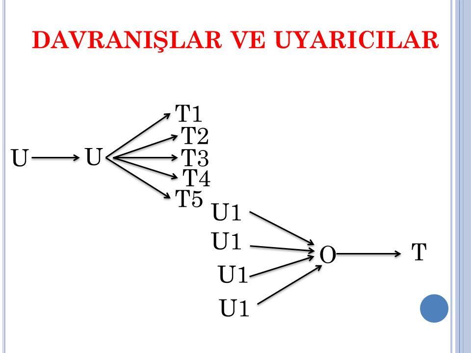 DAVRANIŞLAR VE UYARICILAR T1 U1 U2 U3 U4 O T3 T2 T4 T5 U5