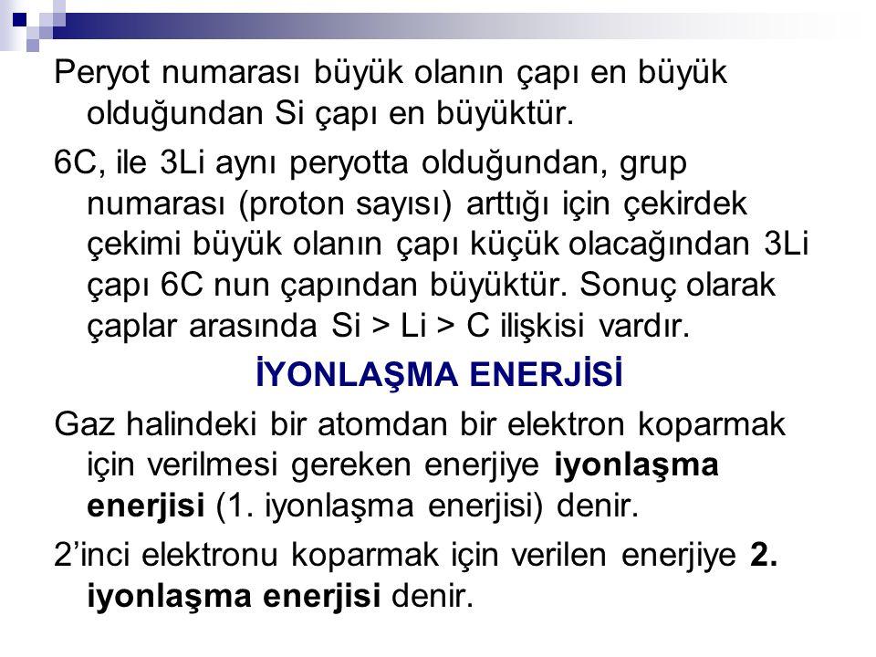3'üncü elektronu koparmak için verilen enerjiye 3.
