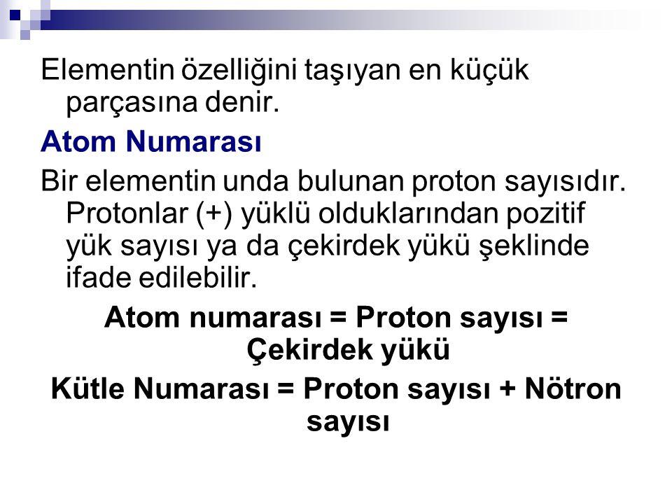 Nötr (yüksüz) bir için, çekirdekte kaç proton varsa çekirdeğin etrafındaki yörüngelerde de o kadar elektron dolaşır.