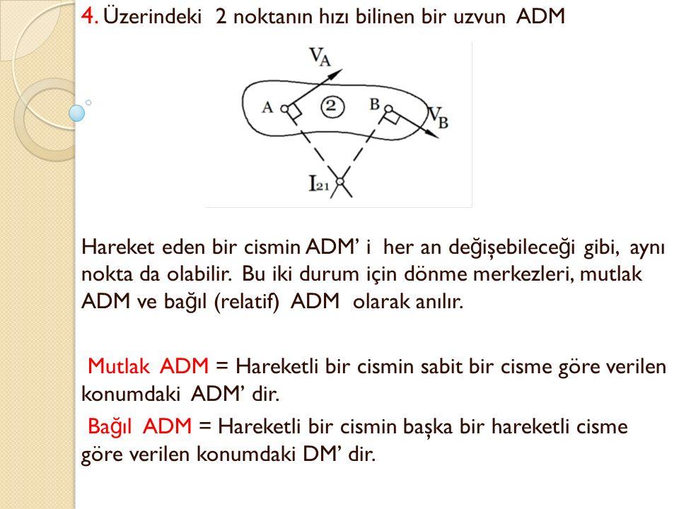 ADM'e pratik bir problem örne ğ i: Araçlarda tekerlek-gövde ba ğ lantı mekanizmasında aks ADM'leri ve araç boyuna dönme ekseni, taşıtın dinami ğ i üzerinde çok önemli bir tasarım parametresidir