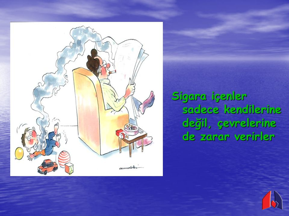 Sigara içenlerin çevreye zararları; Bulundukları çevrenin havasını kirletirler Bulundukları çevrenin havasını kirletirler Çevrelerindeki insanların pasif sigara içmelerine neden olurlar Çevrelerindeki insanların pasif sigara içmelerine neden olurlar Ev ve orman yangınlarına neden olurlar Ev ve orman yangınlarına neden olurlar