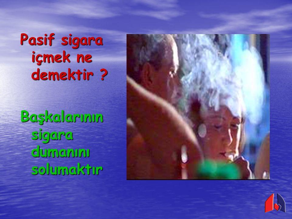 Pasif sigara içiciler de sigara bağımlıları kadar zarar görürler Pasif sigara içimi; Akciğer kanserine Akciğer kanserine Kalp hastalıklarına Kalp hastalıklarına Çocuklarda akciğer ve solunum yolu hastalıklarına neden olur Çocuklarda akciğer ve solunum yolu hastalıklarına neden olur