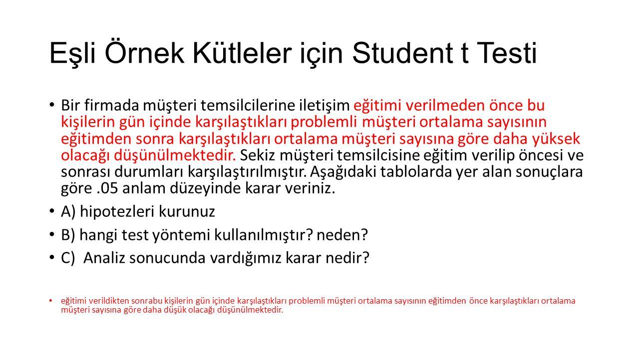 Eşli Örnek Kütleler için Student t Testi