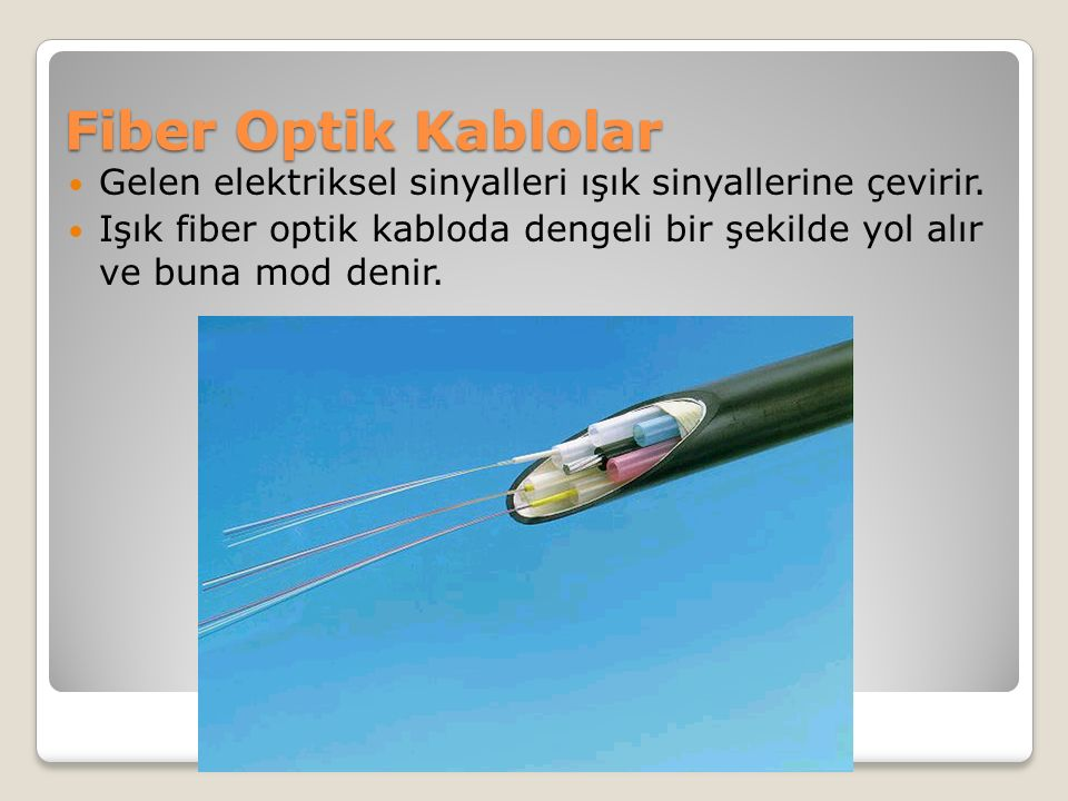 Fiber Optik Kablolar Gelen elektriksel sinyalleri ışık sinyallerine çevirir.