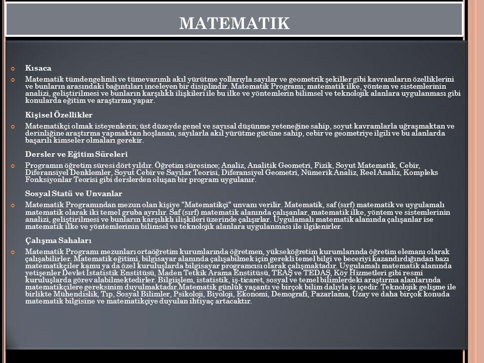 matematik Kısaca.