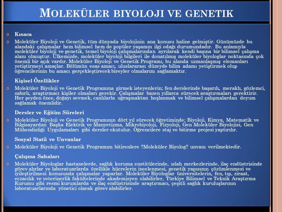 Moleküler biyoloji ve genetik