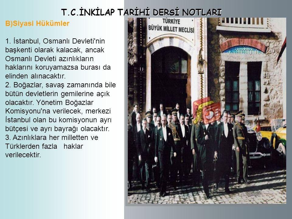 T.C.İNKİLAP TARİHİ DERSİ NOTLARI