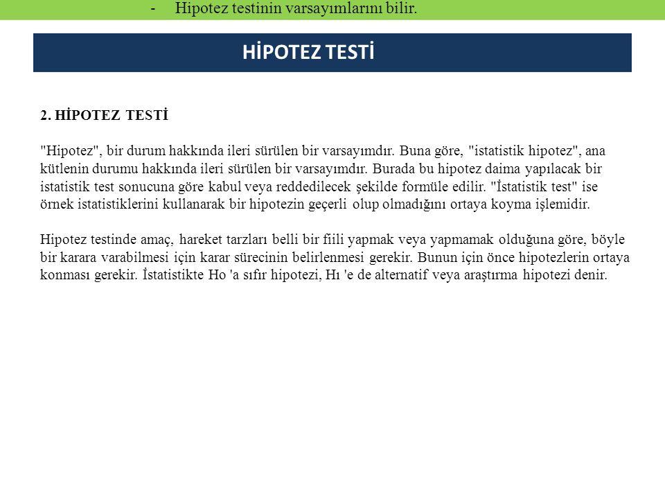 HİPOTEZ TESTİ Hipotez testinin varsayımlarını bilir.