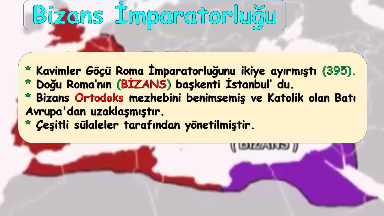 Bizans İmparatorluğu * Kavimler Göçü Roma İmparatorluğunu ikiye ayırmıştı (395). * Doğu Roma'nın (BİZANS) başkenti İstanbul' du.
