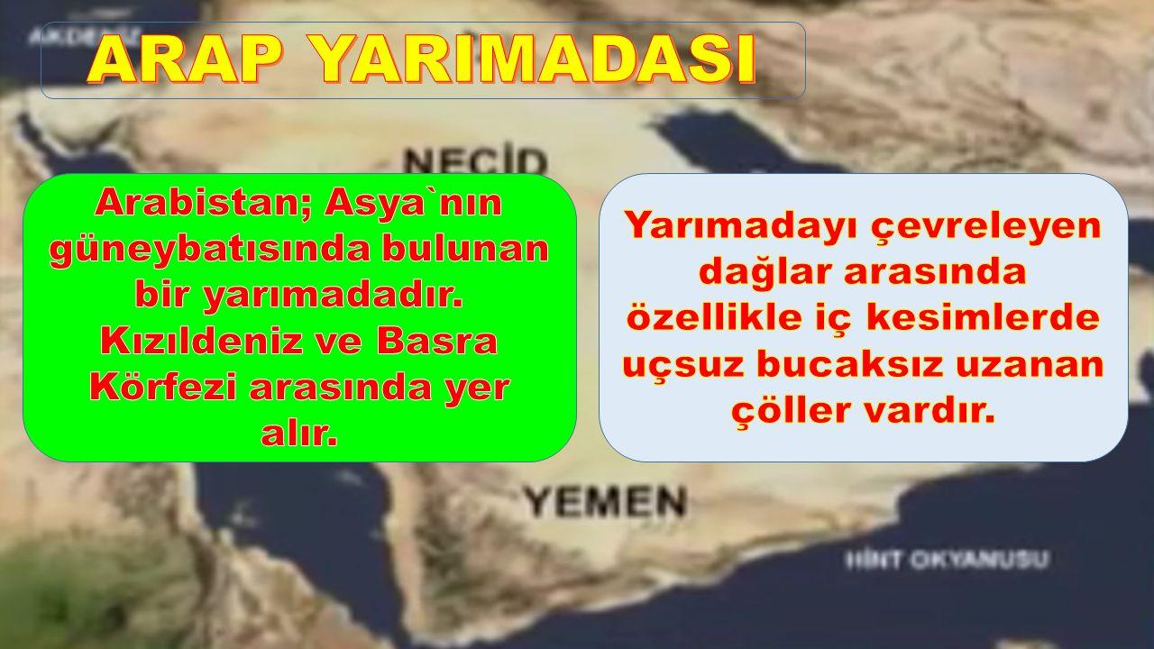 ARAP YARIMADASI Arabistan; Asya`nın güneybatısında bulunan bir yarımadadır. Kızıldeniz ve Basra Körfezi arasında yer alır.