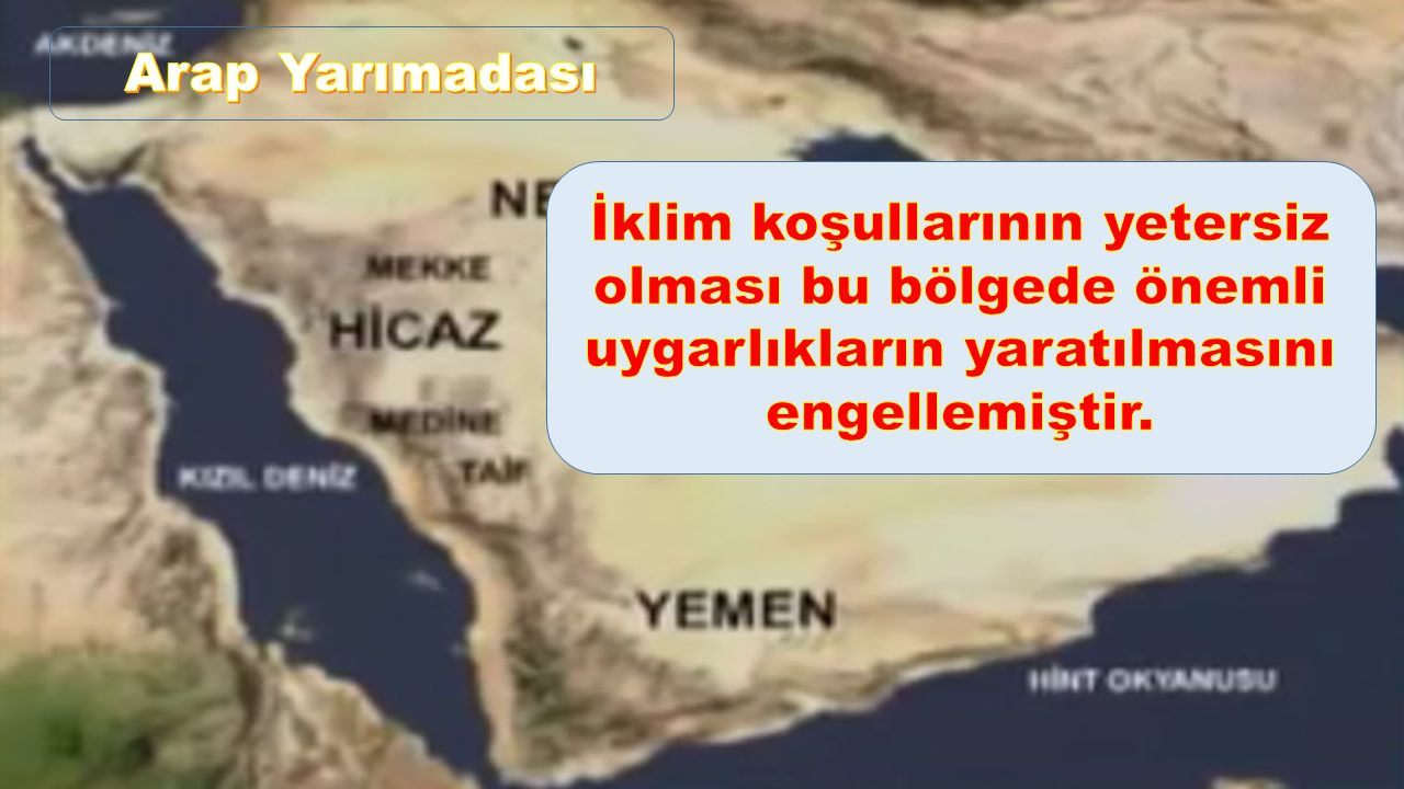Arap Yarımadası İklim koşullarının yetersiz olması bu bölgede önemli uygarlıkların yaratılmasını engellemiştir.