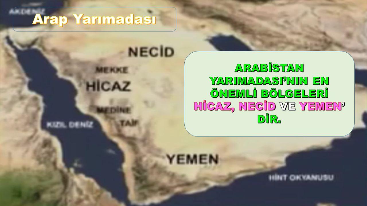 Arap Yarımadası ARABİSTAN YARIMADASI'NIN EN ÖNEMLİ BÖLGELERİ HİCAZ, NECİD VE YEMEN' DİR.