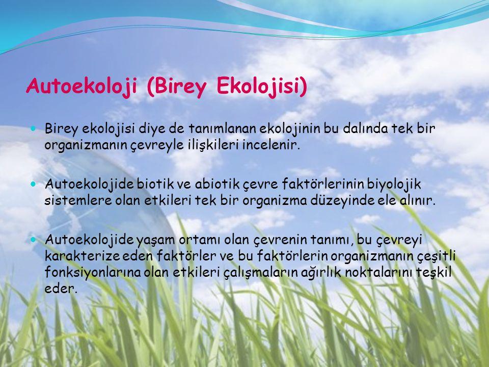 Autoekoloji (Birey Ekolojisi)