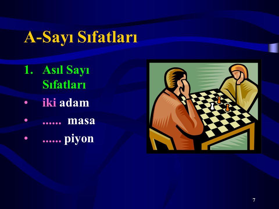 A-Sayı Sıfatları Asıl Sayı Sıfatları iki adam ...... masa ...... piyon