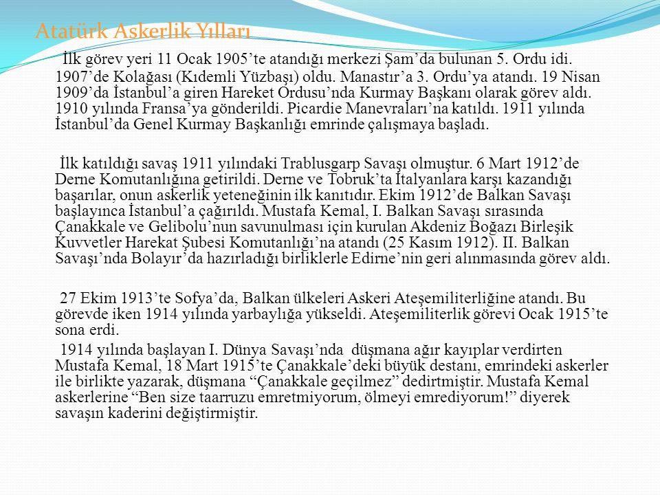 Atatürk Askerlik Yılları