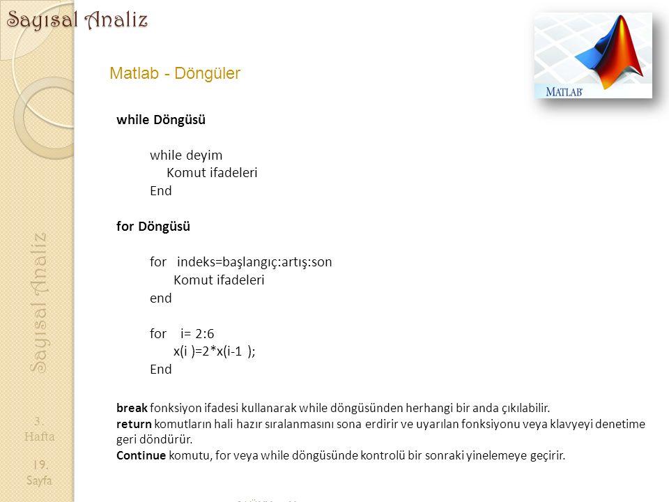 Sayısal Analiz Sayısal Analiz Matlab - Döngüler while Döngüsü