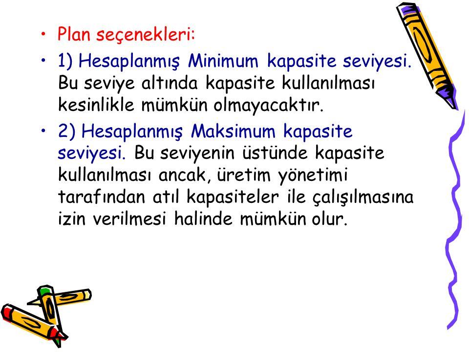 Plan seçenekleri: 1) Hesaplanmış Minimum kapasite seviyesi. Bu seviye altında kapasite kullanılması kesinlikle mümkün olmayacaktır.