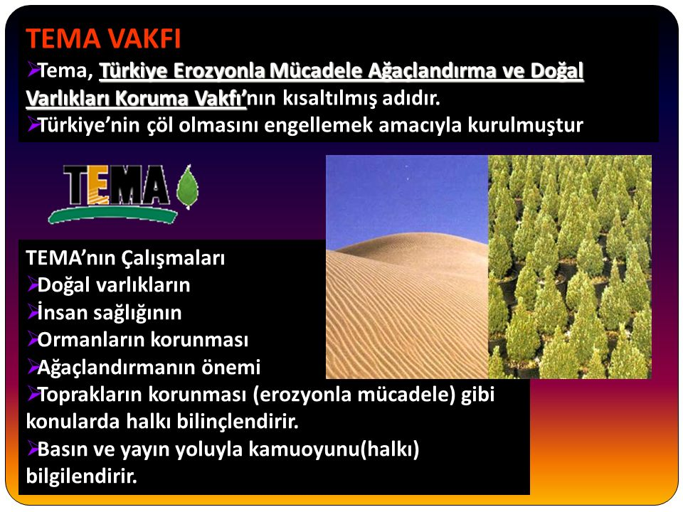 TEMA VAKFI Tema, Türkiye Erozyonla Mücadele Ağaçlandırma ve Doğal Varlıkları Koruma Vakfı'nın kısaltılmış adıdır.