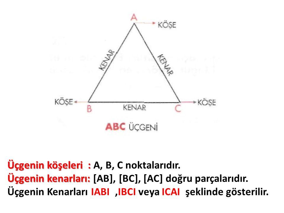 Üçgenin köşeleri : A, B, C noktalarıdır.